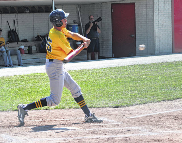 Dawson Leichty of Archbold takes a cut during a district ACME game.