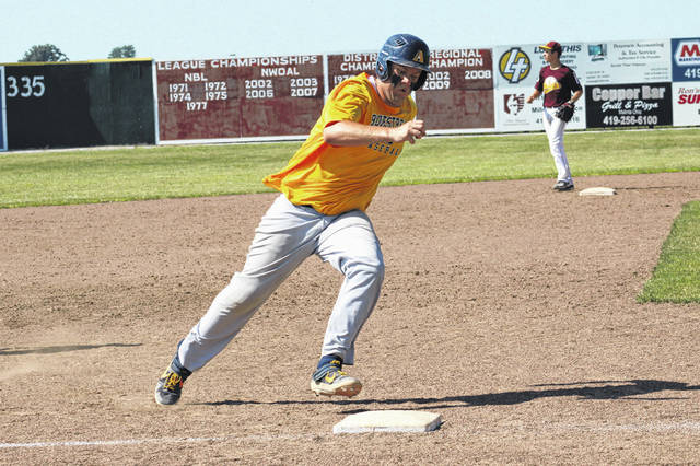 Drake Mohring of Archbold makes the turn at third base prior to scoring a run during a District 2 ACME baseball district tournament game versus Kalida Sunday afternoon. The Blue Streaks topped the Wildcats 8-4 to earn a berth to the state tournament at Coldwater.