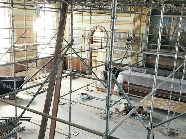 This photo shows the length of scaffolding needed during the restoration of Fulton County Common Pleas Court.