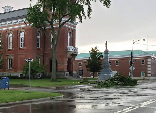 A severe thunderstorm blew through Fulton County Tuesday evening leading to some damage, including downed branches and power lines. Multiple branches were down in Wauseon, including outside the Fulton County Courthouse, above. Power outages in the Archbold area, Pettisville and rural Wauseon lasted into Wednesday. Over 550 customers remained without power at 10 a.m.