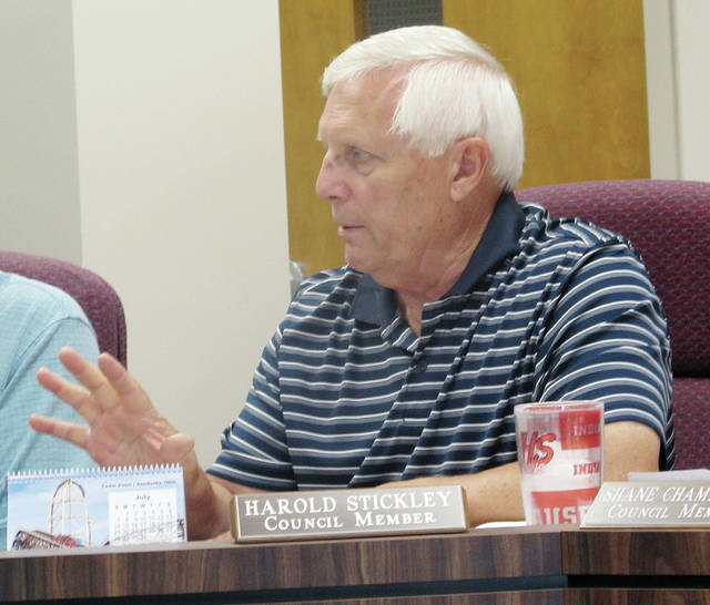Wauseon City Council member Harold Stickley on Monday discussed the purchase of a sign for the city's Indian Hill Trails.