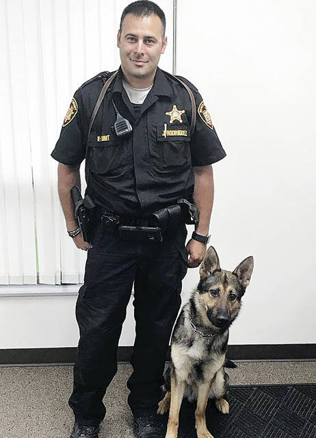 The new Fulton County Sheriff's Office team of Deputy Josh Rodriguez and K-9 Officer Ausko.