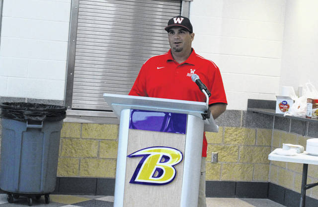 Wauseon first-year head coach Shawn Moore addresses the other Northwest Ohio Athletic League coaches Sunday in Bryan at the annual coaches meeting. The Indians were picked to finish fifth in the league by their peers.