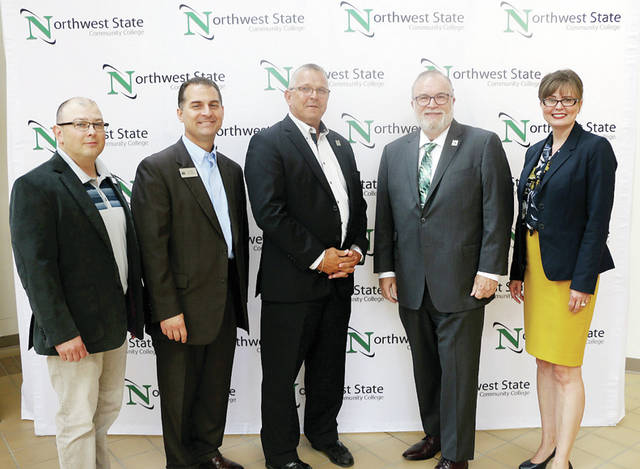 From left, Todd Hernandez, NSCC executive vice president; Dr. Cory Stine, executive director, Terra College Foundation; Dr. Ron Schumacher, Terra State president; Dr. Michael Thomson, NSCC president; Dr. Kristen Lindsay, Terra State vice president of Student Affairs and Enrollment Services.