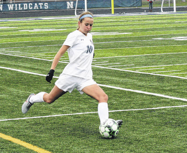 Chloe Nofziger of Archbold boots one in a tournament game last season. She returns for her senior season in 2019.