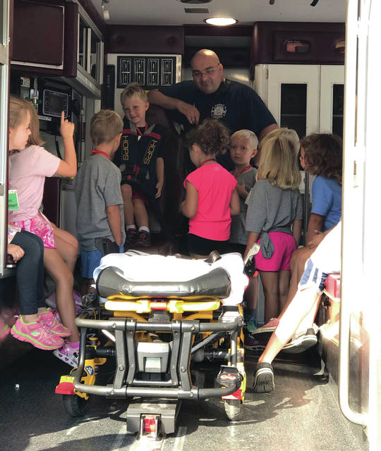 Swanton Safety Village was held last week, teaching incoming kindergarten students how to stay safe in their surroundings. Safety topics included poison, pedestrian, fire, playground, and bus safety as well as a look inside a rescue squad vehicle, above.