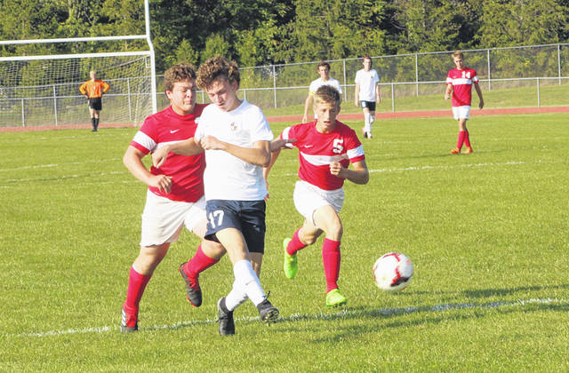 Archbold's Trey Theobald with a shot on goal last season in a game at Wauseon. He is a leading returnee the Blue Streaks have this season.