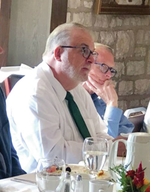 Northwest State Community College President Michael Thomson, left, sat alongside Ohio Gov. Mike DeWine during a breakfast gathering of community college presidents hosted July 26 at the governor's mansion by DeWine and Lt. Gov. Jon Husted. The meeting was held to discuss the colleges' role in the future of Ohio's economy. The participants discussed opportunities for community colleges to work with businesses and other partners to help improve Ohio's economy, and the importance of the colleges to build partnerships with Ohio's Job and Family Services, faith-based partners, addiction recovery services, foster care parents, and correctional facilities.