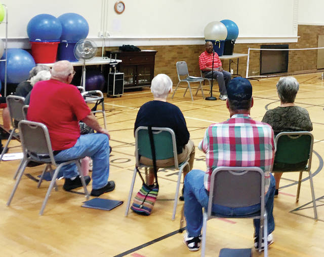 Several of more than two dozen Fulton County seniors are shown enjoying the Matter of Balance classes that began Aug. 5 at the Fulton County Senior Center, 240 Clinton St., in Wauseon. Robert Sullivan, of Toledo's Area Office on Aging, leads the series of classes that can help individuals improve balance, gain more flexibility, build strength, and prevent falls while learning healthy lifestyle tips. The classes are free, and held each Monday and Thursday in August from 10-11:45 a.m. Register for lunch afterward by calling 419-337-9299.