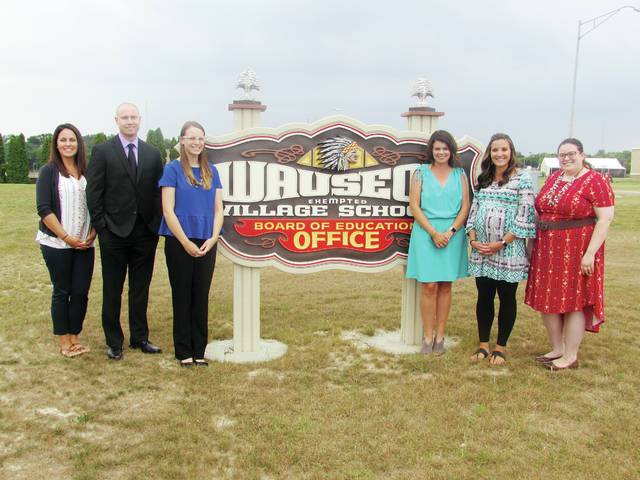 New Wauseon school district staff members introduced at Monday's Board of Education meeting include, from left, Olivia Selgo, Dan Snyder, Lydia Badenhop, Brittani Gerken, McKalyn Roth, and Anna Vogelgesang.