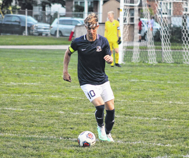 Chase Kohler of Archbold handles the ball in the open field Thursday versus Wauseon in NWOAL boys soccer. The Blue Streaks scored a goal with four seconds remaining to top the Indians, 2-1.
