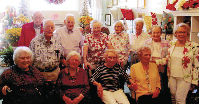 "The Wauseon High School Class of 1947 held its 72nd reunion and celebrated classmates' 90th birthdays Aug. 24 at AKA Designs in Wauseon. Members reminisced about the school buildings they attended during their academic years, including the ""Old Normal"" school building; a house south of the Fulton County Senior Center; a community room above the old city fire hall; a grade school on Elm Street, and school buildings that were destroyed by fire and an explosion. Pictured are – sitting, from left – Doris Gillen Koman, June Lillich Patterson, Laura Jane Myers Semer, Shirley Pugh Williams – standing, from left – Wayne Schroeder, Robert Batdorf, Dail Stutzman, Annabell Ort Markley, Lois Heer Keith, Verna Flory Williams, Jean Keafer Figy, and Mary Ann Hackett Dickson."