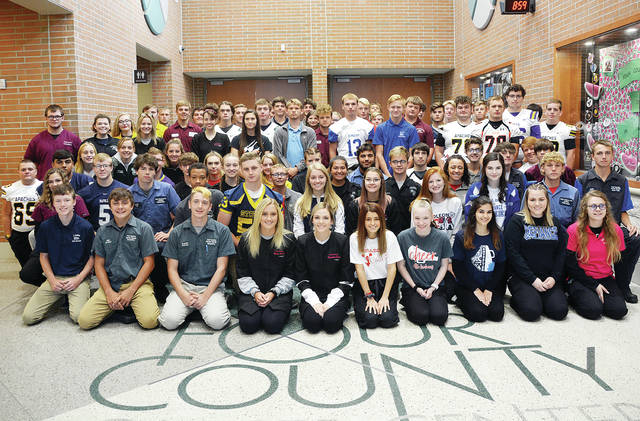 Four County Career Center in Archbold celebrated Fall Sports Spirit Day by gathering 80 student athletes, cheerleaders, and band members from all of its 22 associate schools for a photo opportunity.