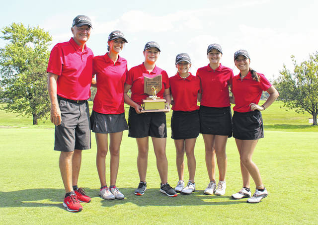 The Wauseon girls golf team after winning the NWOAL Golf Invitational last Friday. They went on to take third at a Division II sectional tournament at White Pines in Swanton Tuesday, qualifying for the district. From left: head coach Mike Marshall, Ellie Oyer, Lexe McQuillin, Calaway Gerken, Jordan King and Halle Frank.