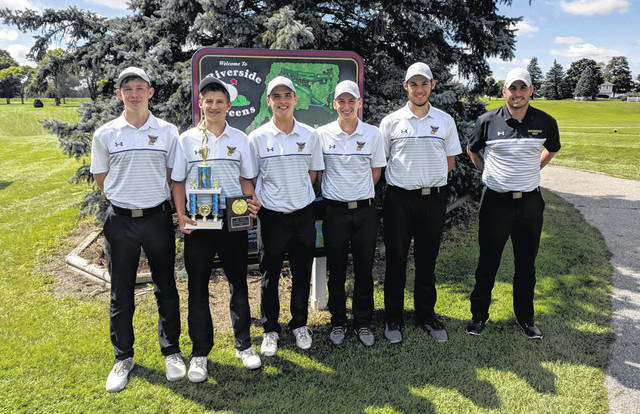 The Pettisville boys golf team won the Stryker Golf Invitational on Saturday, Sept. 7. Pictured are, from left: Tommy McWatters, Max Leppelmeier, Josh Horning, Caleb Nafziger, Jake King, head coach Mike Zimmerman.