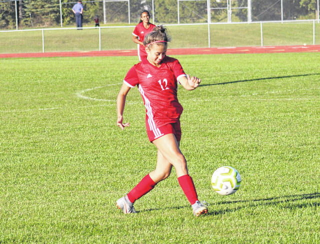 Wauseon's Ellie Rodriguez kicks one upfield during Monday's game against Van Buren. The Indians fell to the Black Knights 3-1.