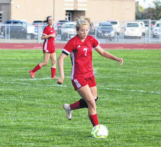 Wauseon's Amanda Wendt gets to a ball in open space Monday versus Napoleon. The Indians fell to the Wildcats 3-0.