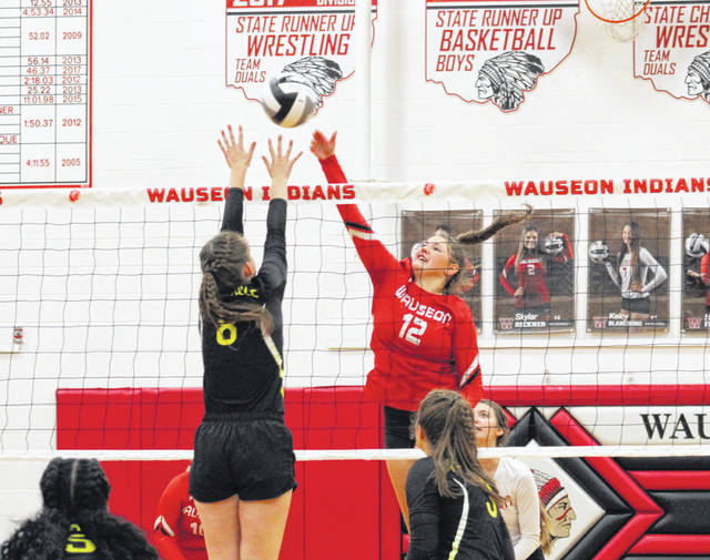Sydney Zirkle of Wauseon (12) hits one over the net Thursday versus Pettisville in non-league volleyball. The Indians swept the Blackbirds 25-20, 25-20, 25-16.
