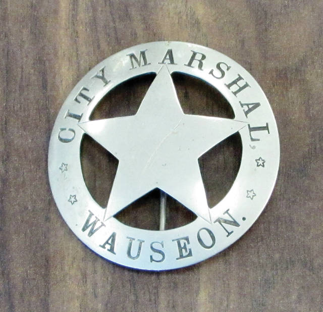 An antique marshal's badge purchased by Wauseon Police Chief Kevin Chittenden.