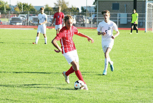 Beau Reeder of Wauseon gets to a ball in open space Monday versus Lake in a Division II boys soccer sectional semifinal contest. The Indians would emerge victorious in overtime, 2-1.