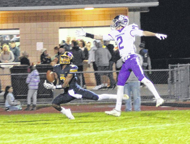 Swanton's Josh Vance defends an incomplete pass to Antonio Cruz of Archbold in the end zone.