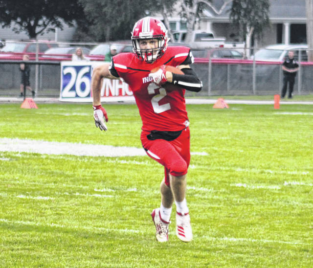 Wauseon's Connar Penrod on an end around in an earlier game this season. The Indians currently sit at second in the latest computer ratings for Division IV, Region 14.
