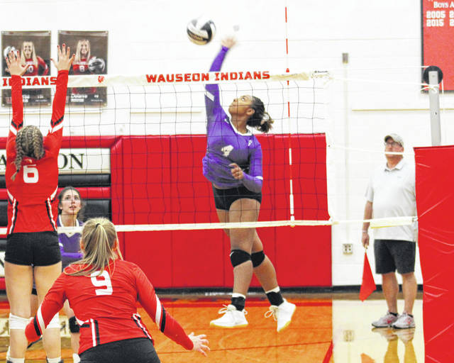 Ashlynn Waddell of Swanton drills one from the left side during Tuesday's NWOAL volleyball match at Wauseon. The Bulldogs defeated the Indians in four games.