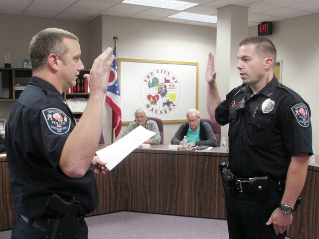 Wauseon Police Chief Kevin Chittenden swore in Kaleb Torbet as a newly-designated sergeant during Monday's City Council meeting.