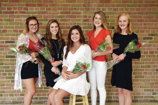 The 2019 Wauseon High School Homecoming Queen and her Court posed for an official photo. Pictured, from left, is Lillian Wagner, sophomore; Macey Coronado, senior; Queen Paige Smith, senior; Loren Starkweather, junior; and Grace Rhoades, freshman.