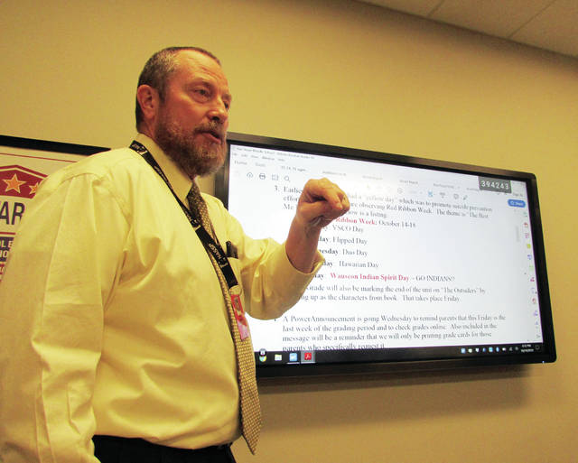 Wauseon Middle School Principal Joe Friess offered a report Monday on the school's activities.