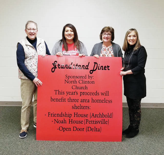 The Grandstand Diner at the 2019 Fulton County Fair netted proceeds of $9,576, which were distributed to three area homeless shelters. Pictured, from left, are Cecily Rohrs, Friendship House, Archbold; Elena Kutzli, Grandstand Diner co-manager with Doug Kutzli; Nancy Allan, Noah House, Pettisville/Wauseon; and Kristine Clark, Open Door, Delta.