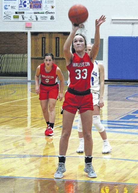 Sam Aeschliman hits a free throw for Wauseon in the girls basketball season opener at Anthony Wayne Tuesday night. She scored 15 points for the Indians in a 48-34 win.