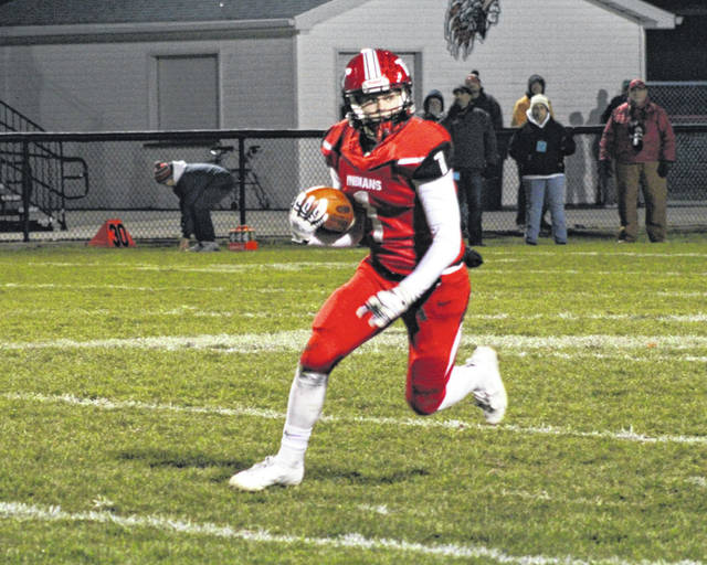 Wauseon's Tyson Britsch looks for running room following his interception of a Keegan Ray pass last Saturday against Bellevue. The Indians will face Ottawa-Glandorf this Saturday at Defiance in a Division IV, Region 14 semifinal.