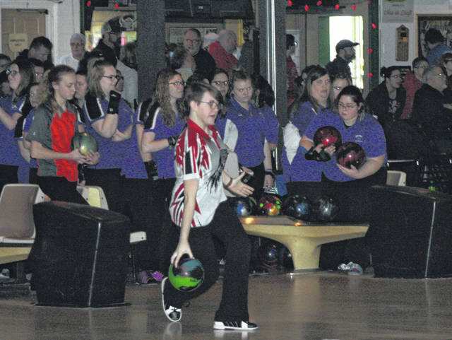 Emily Brunn of Wauseon during the NWOAL Bowling Championships last winter. She returns for the Wauseon girls bowling team this season.
