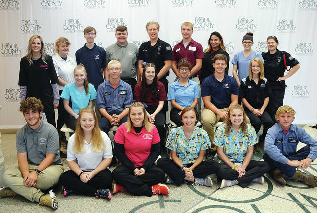 Four County Career Center's Students Ambassadors are seniors chosen each year based on their teacher's recommendations and leadership abilities. They represent the school in a variety of capacities including hosting future students and parents, as well as area-elected officials and members of the community, at the center. The 2019-20 Student Ambassadors are – front, from left – Michael Roumell of Napoleon, Starr Anteau of Patrick Henry, Mercedes Palladino of Defiance, Maggie Weller of Napoleon, Kalen Rauch of Liberty Center, Cade DeLong of Patrick Henry – middle, from left – Adriel Nelson of Wauseon, Joshua Brueshaber of Patrick Henry, Kendra Reeder of Defiance, Angelina Bowman of Bryan, Ethan Thompson of Fairview, Carley Horst of Archbold – back, from left – Elizabeth Vetter of Fairview, Rhiana Short of Pettisville, Breyer Zachrich of Pettisville, Kaleb Sampson of Bryan, Cade Keefer of Hilltop, Kelby Sapp of Edon, Amanda Wayne of Edgerton, Makinzi Loutzenhiser of Fairview, and AJ Canady of Fairview. Absent from the photo is Silas Sanchez of Wauseon.