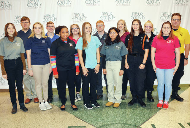 Four County Career Center in Archbold has selected the 2019-20 Student Council members. Student Council sponsors the spring dance and various other projects throughout the school year. Students include - front, from left - Trinity Saxton of Liberty Center; Kaitlyn Mallett of Hicksville; Danasia Rowe of Defiance; Kyla Karzynow of Fairview; Laila Perez-Aguilar of Archbold; Jasmine Light of Liberty Center; Mercedes Palladino of Defiance - back, from left - Zacary Sparks of Edon; Austin Tomaszewski of Bryan; Erica Deetz of Montpelier; Wade Allport of Bryan; Sarah Schroeder of Ayersville; Elizabeth Strong of Hicksville; and Gabriel Smith of Hicksville. Absent are Tori Rafferty of Hicksville and Grace Rex of Tinora. Student Council advisor is Kyle Bostater.