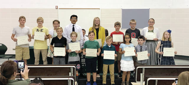 These Pike-Delta-York students were honored by the school district's board of education for their perfect scores on state tests.