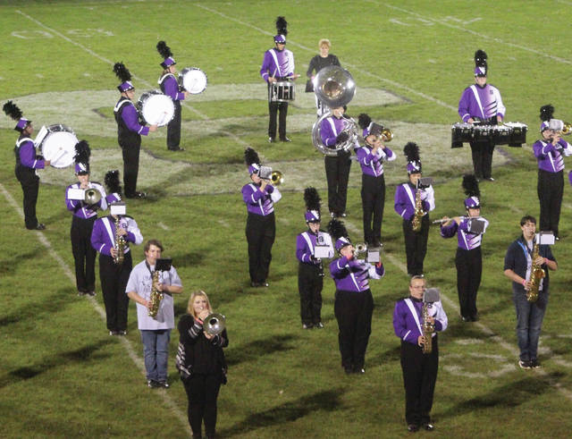 The Swanton High School marching band plays during halftime of a home football game in October. This Saturday they will play at the state marching band finals.