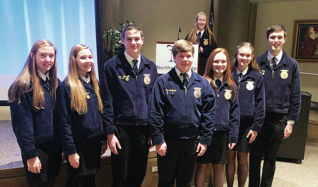 Members of the Pettisvile FFA Parliamentary Procedure Team are, from left, Karson Pursel, Ava Hoylman, Carson Bennett, Andrew Hulbert, Kearsten Zuver, Clara Damman, Matthew Rupp, and Jessica McWatters, pictured in back.