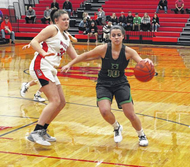 Brooklyn Green of Delta, right, handles the ball as Sydney Zirkle defends for Wauseon. The Panthers took down the Indians 43-35 in a non-league contest Thursday night.