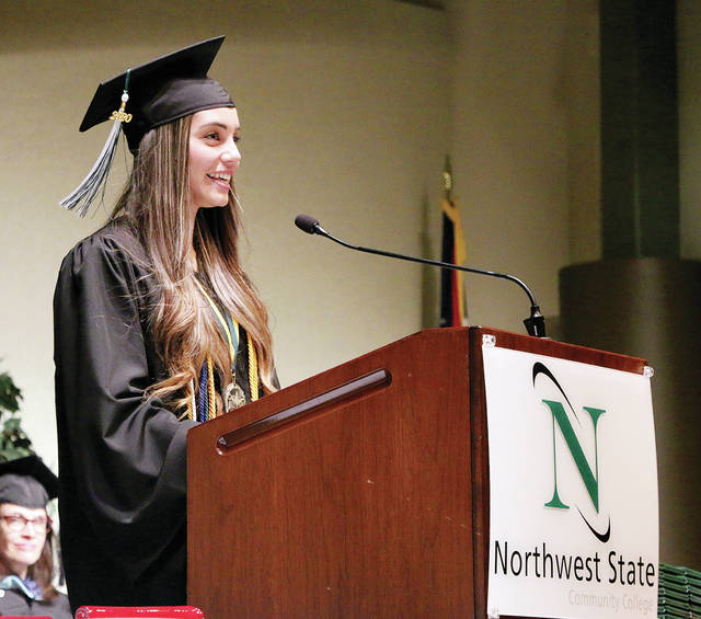 Honor student Keetyn Ayers was the student speaker at Monday's commencement ceremony at Northwest State Community College.