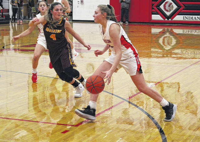 Marisa Seiler of Wauseon drives in from the wing during Tuesday's home matchup with Edgerton. The Indians went ahead early, never taking their foot off the gas in a 68-46 win over the Bulldogs.