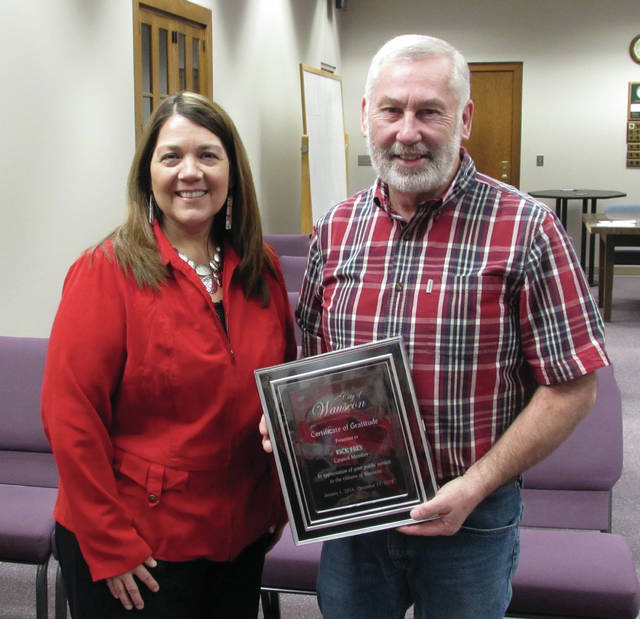 Wauseon Mayor Kathy Huner presented outgoing City Council member Rick Frey with a commendation during Monday's meeting.