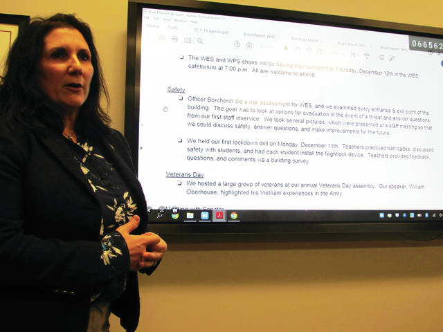Wauseon Elementary School principal Theresa Vietmeier told the Board of Education students have learned to use a classroom door-jamming device in the event of an intruder.