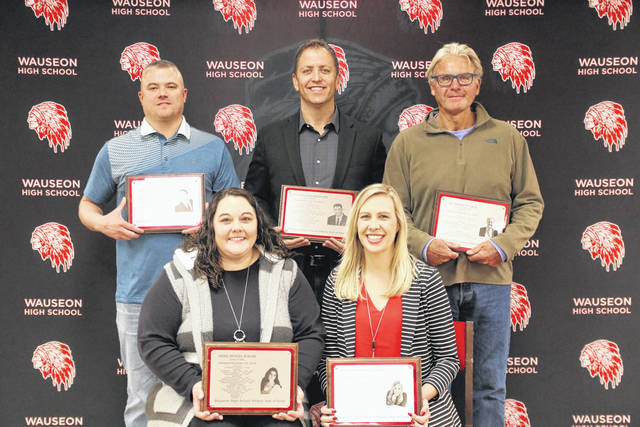 The 2020 class of the Wauseon Athletic Hall of Fame was recognized last Saturday prior to the varsity basketball game with Defiance. Front row, from left: Bree (Wood) Rolon and Amber (Uphaus) Fether. Back row: Gordie Frey, Jason Neuenschwander, and Jay Magee.