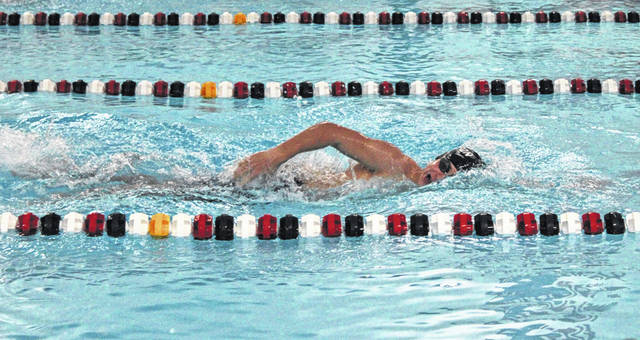 Isaiah Bourn of Wauseon swims in the 200-yard freestyle during Tuesday's home meet with Sylvania Southview. He would win the race with a time of 2:08.82.