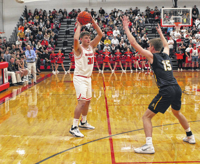 Sean Brock of Wauseon looks to get the ball inside on Thursday in a non-league game against Archbold. The Indians would rally down five with just over two minutes to play, clawing back for a 36-35 win over the visiting Blue Streaks.