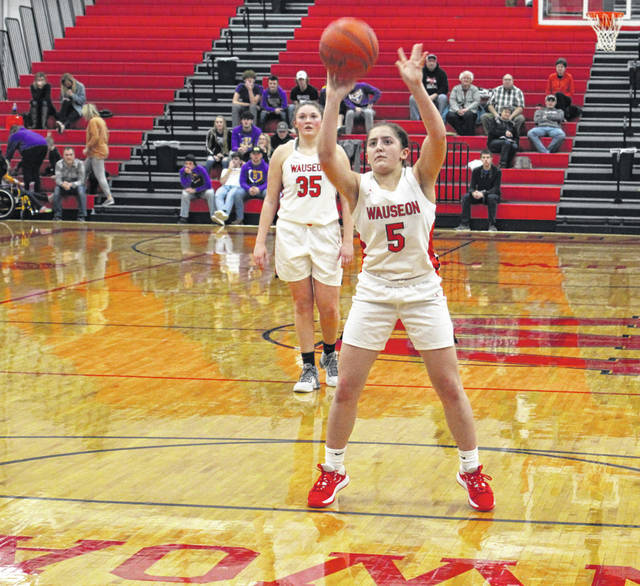 Wauseon's Autumn Pelok hits a free throw in overtime versus Bryan Thursday in NWOAL girls basketball. She was 7 of 8 for the game from the foul line, including a perfect 6 for 6 in overtime, helping lead the Indians to a 60-49 home win over the Golden Bears.