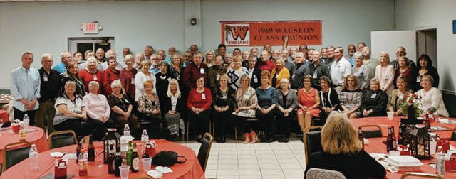 Seventy-seven members of the Wauseon High School Class of 1969 celebrated their 50th class reunion the weekend of October 4-5. Activities included the Homecoming football game, a gathering at the Potawatomi shelter house in Reighard Park, tours of the high school and Museum of Fulton County, a visit to American Winery, and a dinner at VFW Post #7424 catered by AKA Designs. Vocal entertainment was provided by classmate Jim Weber.