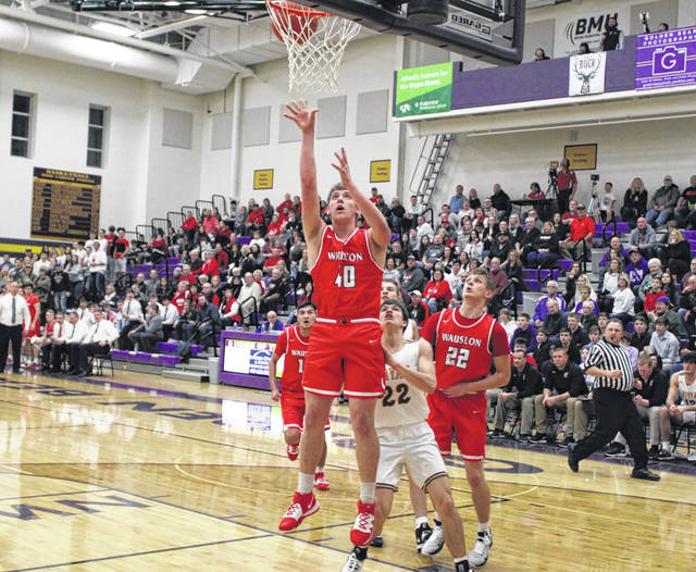 Isaac Wilson of Wauseon scores inside Friday in a NWOAL contest at Bryan. The Indians bested the Golden Bears 63-46, then won 71-62 in overtime against Sylvania Northview on Saturday.